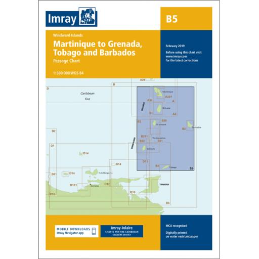 Imray B Series Charts: B5 Martinique to Tobago and Barbados Passage Chart