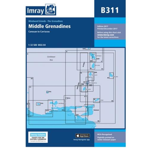 Imray B Series Charts: B311 Middle Grenadines