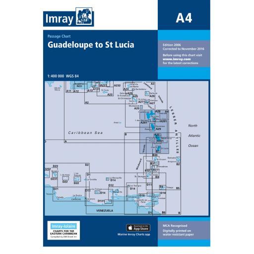 Imray A Series Charts: A4 Guadeloupe to St Lucia Passage Chart